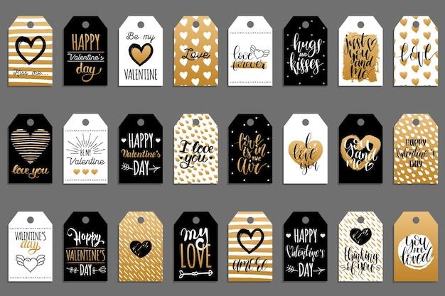 Ręcznie napisane zwroty jesteś najlepszy, miłość jest w roku, na etykietach lub metkach. zestaw do kaligrafii. typografia na walentynki.