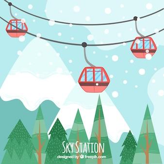 Ręcznie narta stacja narciarska