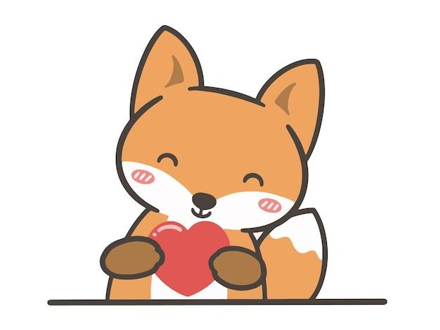 Ręcznie narysować ładny lis z sercem