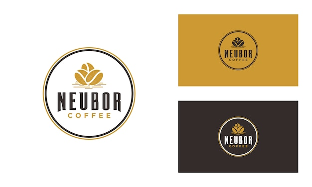 Ręcznie narysować logo ziaren kawy