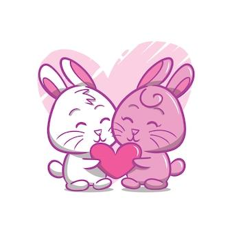 Ręcznie narysować walentynkową parę królików