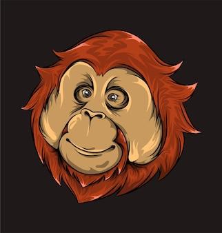 Ręcznie narysowana głowa małpy z uroczym wyrazem