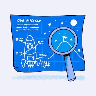 Ręcznie narysowana koncepcja naszej misji ilustrowana