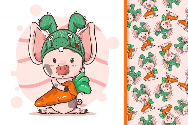 Ręcznie narysowana świnka w króliczku