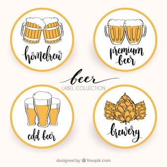 Ręcznie narysowane piwo okrągłe nalepki
