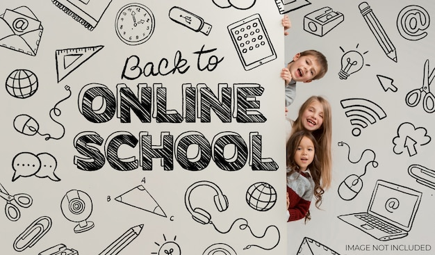 Ręcznie narysowany baner z powrotem do szkoły online