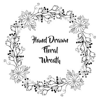 Ręcznie narysowany czarno-biały wieniec kwiatowy