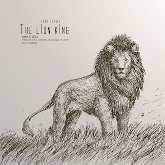 Ręcznie narysowany król lew.