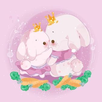 Ręcznie narysowany mały króliczek.