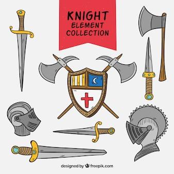 Ręcznie narysowany pakiet średniowiecznej broni