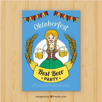 Ręcznie narysowany plakat oktobefest z kobietą przewożących piwa