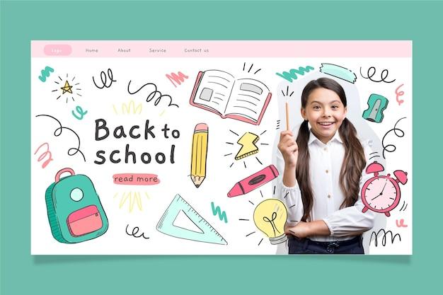 Ręcznie narysowany szablon strony docelowej szkoły ze zdjęciem