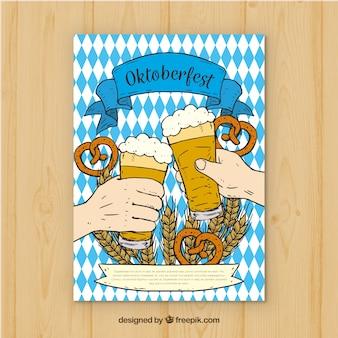 Ręcznie narysowanych rąk toasting z piwa