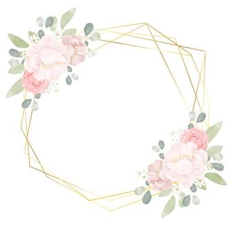 Ręcznie narysuj akwarela różowe róże i piwonia ze złotą geometryczną ramą