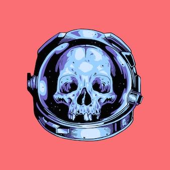 Ręcznie narysuj astronautę z hełmem czaszki