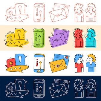 Ręcznie narysuj czat, rozmowa, telefon, ikona poczty zestaw w stylu doodle do swojego projektu.