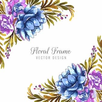 Ręcznie narysuj dekoracyjną kartkę ślubną kolorowe tło kwiatowe
