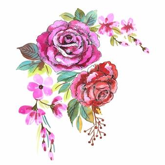 Ręcznie narysuj dekoracyjne kolorowe kwiaty bukiet akwareli