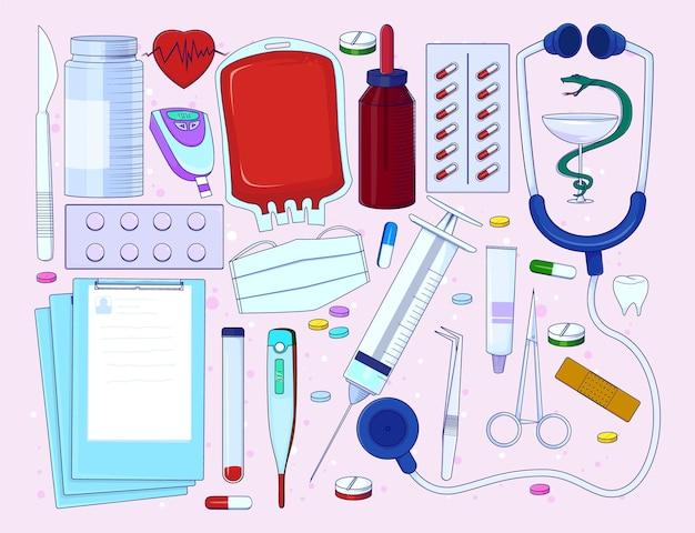 Ręcznie narysuj doodle egzaminatora medycznego