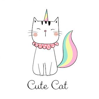Ręcznie narysuj kota jak jednorożec na białym tle.