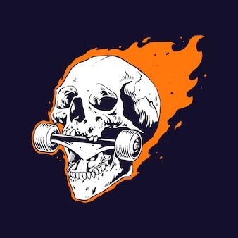 Ręcznie narysuj ogień czaszki gryzący na rolce