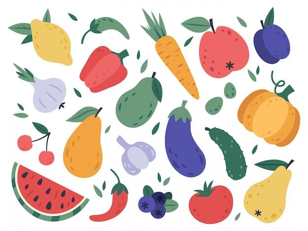 Ręcznie narysuj owoce i warzywa. doodle organiczne wegańskie warzywa, pomidory, bakłażany oraz smaczne owoce i jagody. zestaw ilustracji naturalnych warzyw i owoców