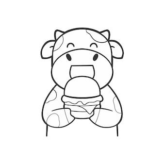 Ręcznie narysuj słodką krowę jedzą hamburgera