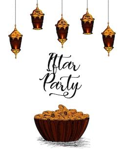 Ręcznie narysuj tło iftar party lub ramadan mubarak z arabską latarnią