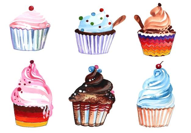 Ręcznie narysuj tort urodzinowy zestaw akwareli