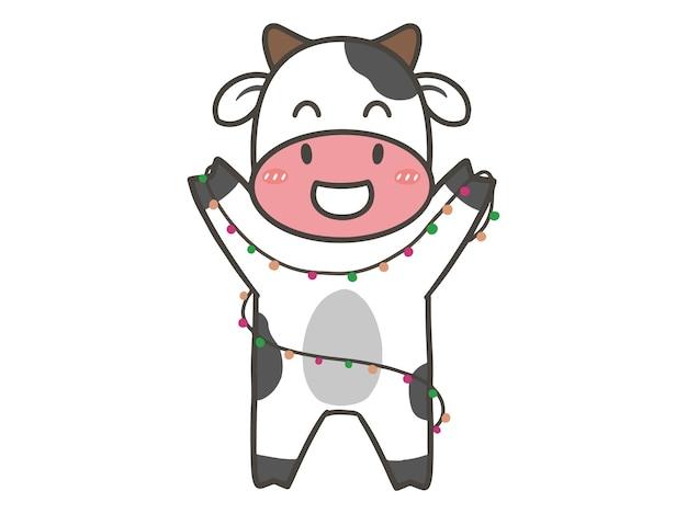 Ręcznie narysuj uroczą krowę na nowy rok