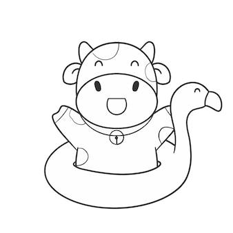 Ręcznie narysuj uroczą krowę z gumowym flamingiem