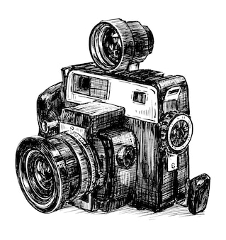 Ręcznie narysuj vintage camra