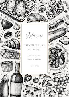 Ręcznie naszkicował szablon ulotki piknik kuchni francuskiej. delikatesy jedzenie i napoje modne tło. idealny do przepisu, menu, etykiety, ikony, opakowania. vintage francuski szablon potraw i napojów.