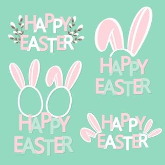 Ręcznie naszkicował tekst wesołych świąt z uszami królika.