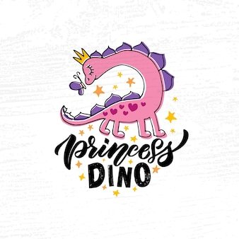 Ręcznie naszkicowana ilustracja wektorowa różowego dino z napisem typografia koncepcja dla dzieci tshirt