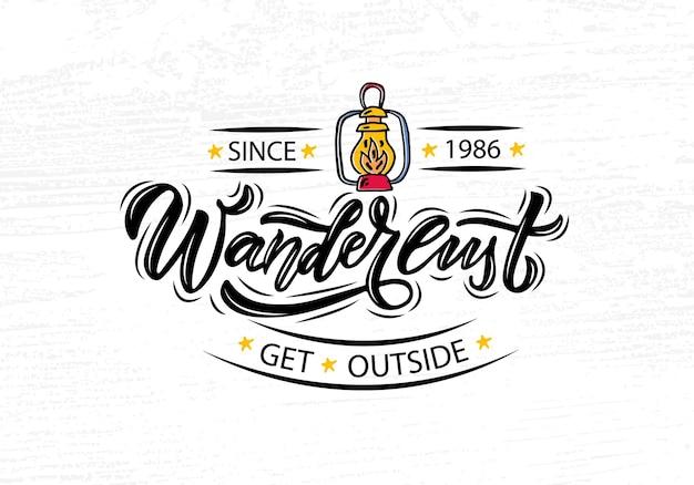 Ręcznie naszkicowana typografia liter wanderlust
