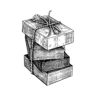 Ręcznie naszkicowane aromatyczne mydło ilustracja rysunek ręcznie rysowane mydła w kostce