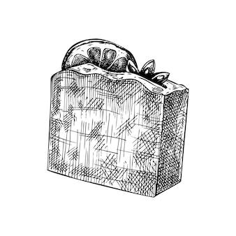 Ręcznie naszkicowane aromatyczne mydło ilustracja rysunek ręcznie rysowane mydła z przyprawami i owocami cytrusowymi