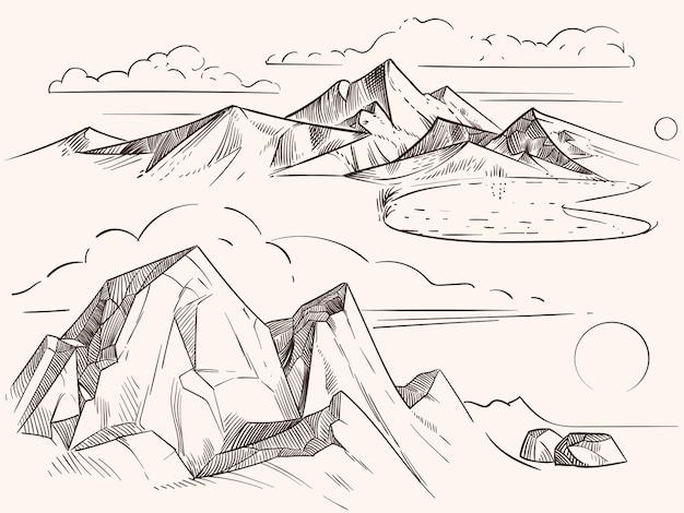 Ręcznie naszkicowane górskie krajobrazy z jeziorem, kamieniami, kępami