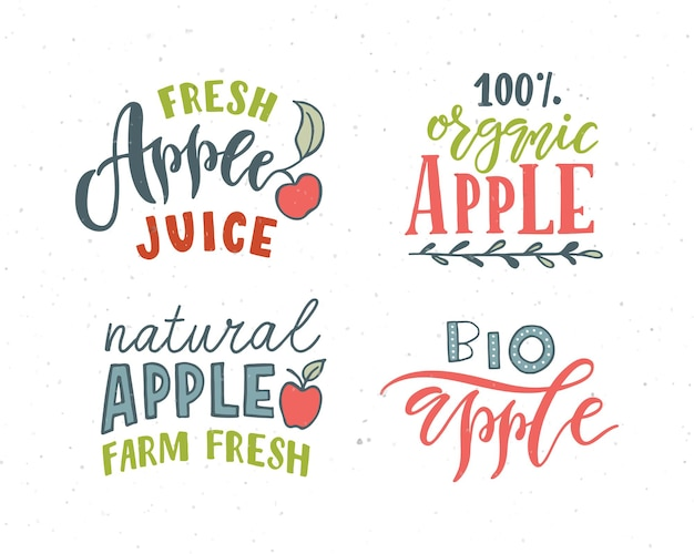 Ręcznie naszkicowane jabłko napis typografia koncepcja dla rolników rynku żywności ekologicznej produkt naturalny