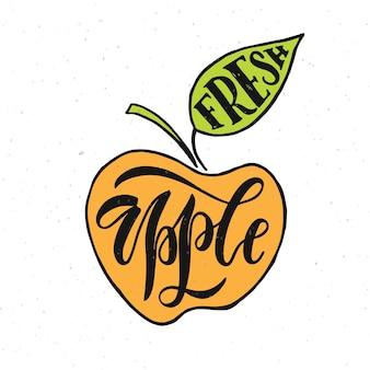 Ręcznie naszkicowane świeże jabłko napis typografia rolnicy na rynku żywności ekologicznej sok z produktów naturalnych