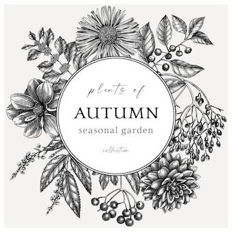 Ręcznie naszkicowany jesienny projekt retro wieniec elegancki szablon botaniczny