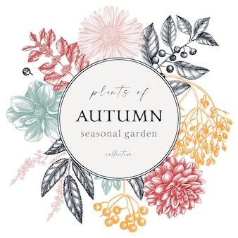 Ręcznie naszkicowany jesienny wieniec w kolorze elegancki szablon botaniczny