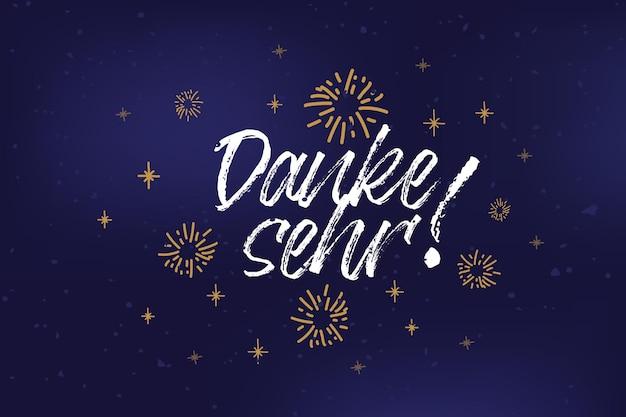 Ręcznie naszkicowany tekst danke sehr jako logotyp i ikona danke pocztówka zaproszenie plakat banner