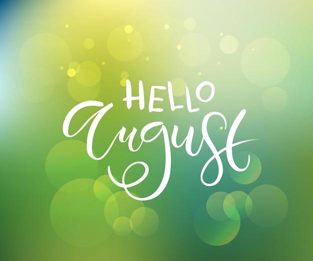 Ręcznie naszkicowany tekst hello sierpień jako logotyp i ikona zaproszenie na pocztówkę hello sierpień