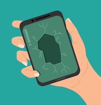 Ręcznie pękający smartfon crack