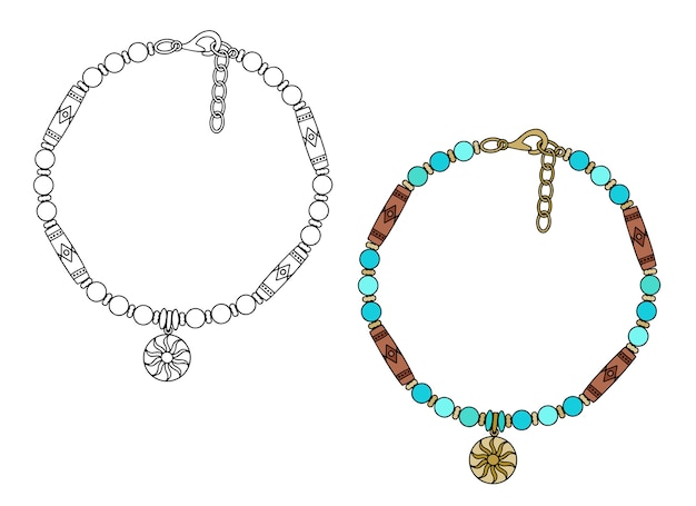 Ręcznie robiona biżuteria w stylu etnicznym: bransoletka amulet z zawieszką sun. ilustracja na białym tle na białym tle.
