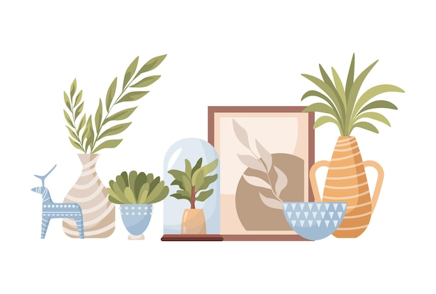 Ręcznie robiona ceramika dekoracyjna płaska ilustracja