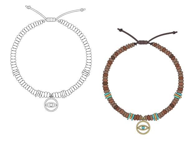 Ręcznie robiona jubilerska bransoletka amulet z zawieszką w kształcie oka