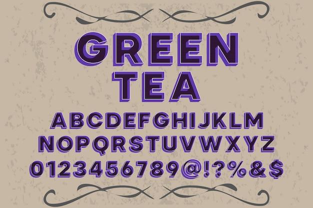 Ręcznie robiona zielona herbata typografii